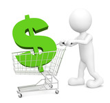 3D Man Shopping with Shopping Cart and Green Dollar Sign