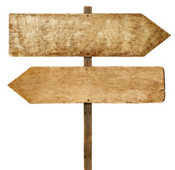Wooden Arrow Signs on White Background