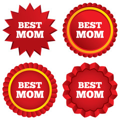 Best mom sign icon. Award symbol.