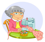 happy granny sewing with a machine