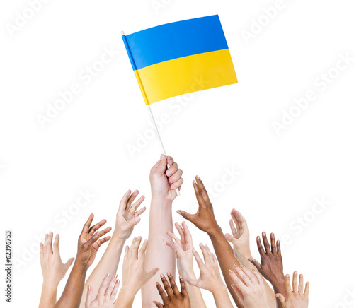 Group of People Holding The Flag of Ukraine