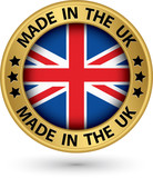 Made in the UK gold label, vector illustration