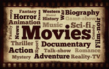 Movies word cloud on old filmstrip background