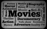 Movies word cloud on old tv screen background