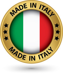 Made in the Italy gold label, vector illustration