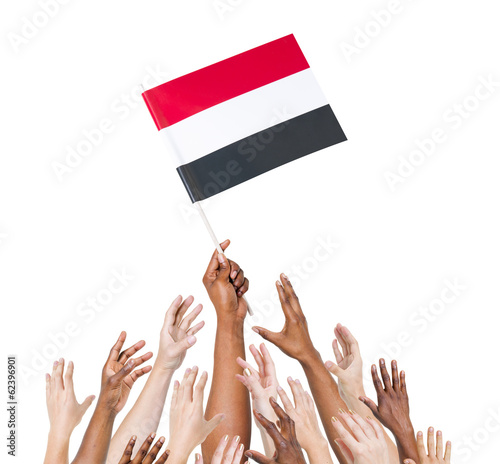 Diver Hands Holding The Yemen Flag