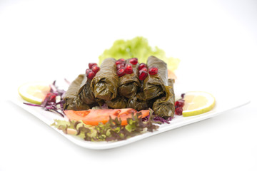 Stuffed vine leaves plate lebanese cuisine