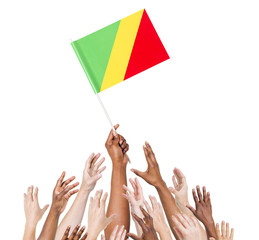 Diverse Human Hands Holding Flag of Congo