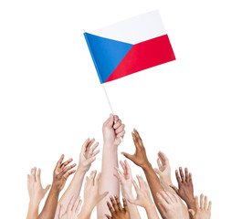 World Human Hands Holding Flag of Czech Republic