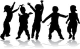 Dancing kids - black silhouettes.