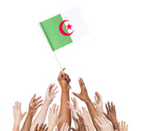 World Human Hands Holding Flag of Algeria