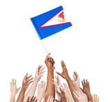 World Human Hands Holding Flag of American Samoa