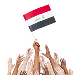 World Human Hands Holding Flag of Iraq