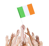 World Human Hands Holding Flag of Ireland