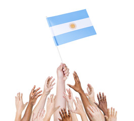 World Human Hands Holding Flag of Agentina