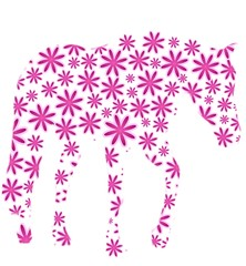 Pink horse of flowers