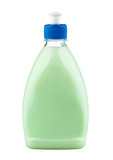 Detergent in green plastic bottle