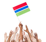 Group of World People Holding Flag of Gambia