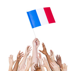 Human Hand Holding France Flag