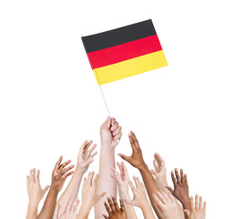 Human Hand Holding German Flag