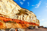 Red & white chalk cliff at beach in Old Hunstanton, Norfolk,