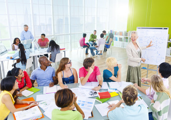 Group of Diverse Student Studying in Classroom