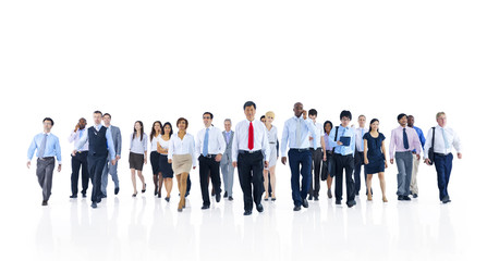 Group of Business People Walking on White Background