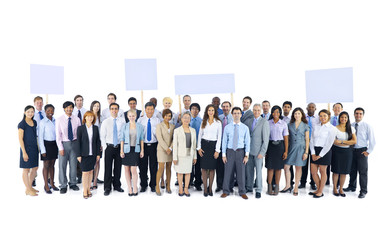 Business People Team Holding Blank Placard