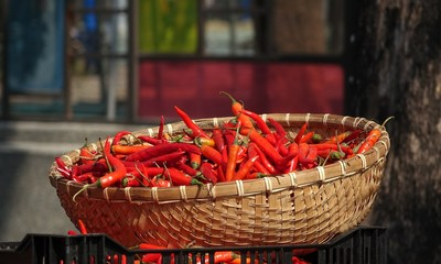 Basket with Red Chili Peppers
