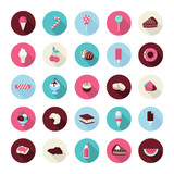 Set of flat design dessert icons