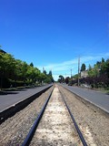 Quiet Railroad and blue sky in summer