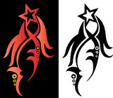winged red and black star logo