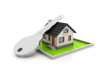 3d  illustration of home and key