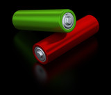 Green and red alkaline batteries