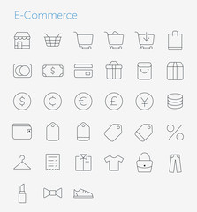 33 Thin Icons Set of E-Commerce. Simple line icons pack