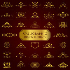 Calligraphic design elements in gold - set 1