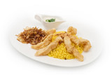 Chicken and Rice plate served with tartar and fried onion