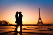 loving couple kissing on Eiffel Tower background, Paris, France - 62399977