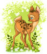 Cute cartoon young deer