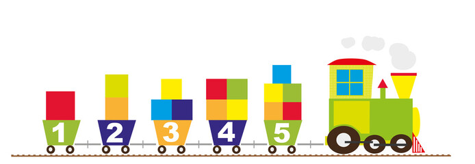 math train with numbers 1-5 - vectors
