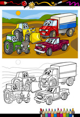 cartoon cars and trucks for coloring book