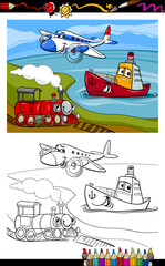 cartoon plane train ship coloring page