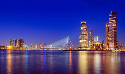 Erasmus Bridge at Twilight, Rotterdam, The Netherlands
