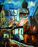 old riga, latvia, painting, illustration