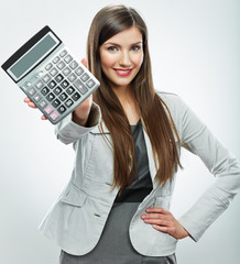 Woman accountant portrait. Young business woman. White backgrou