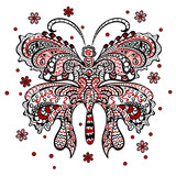 Butterfly with swirling decorative ornament
