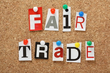 The phrase Fair Trade on a cork notice board