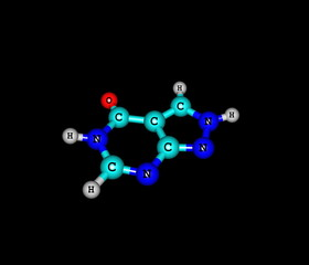 Allopurinol molecular structure isolated on black