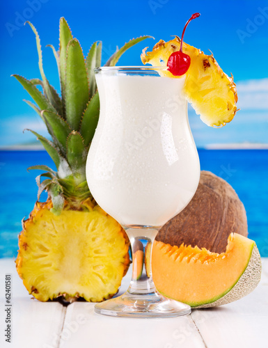 cocktail pina colada with fresh fruits