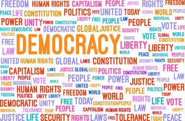 Democracy Word Cloud Concept Vector Illustration
